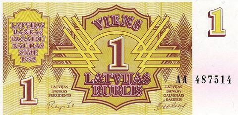 1 латвийский рубль 1992 года выпуска