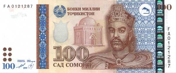 100 таджикских сомони (лицевая сторона)