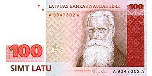 100 латвийских латов (лицевая сторона)
