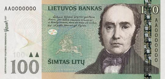 100 литовских литов (лицевая сторона)