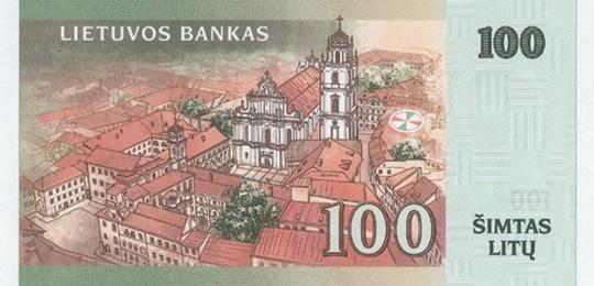 100 литовских литов (оборотная сторона)