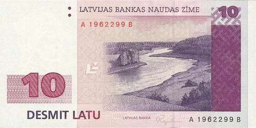 10 латвийских латов (лицевая сторона)
