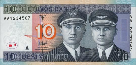 10 литовских литов (лицевая сторона)