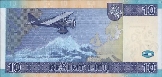 10 литовских литов (оборотная сторона)