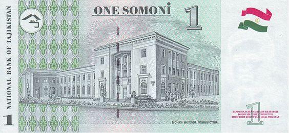 1 таджикский сомони (оборотная сторона)