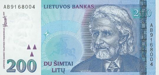 200 литовских литов (лицевая сторона)