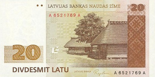 20 латвийских латов (лицевая сторона)