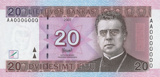 20 литовских литов (лицевая сторона)