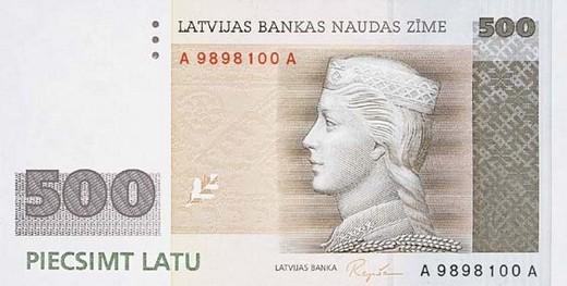 500 латвийских латов (лицевая сторона)