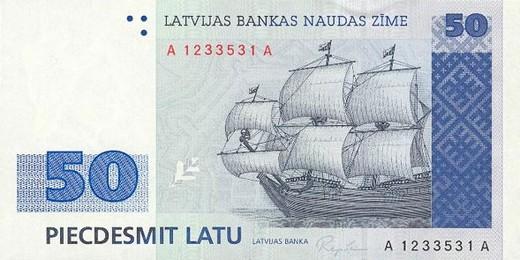 50 латвийских латов (лицевая сторона)