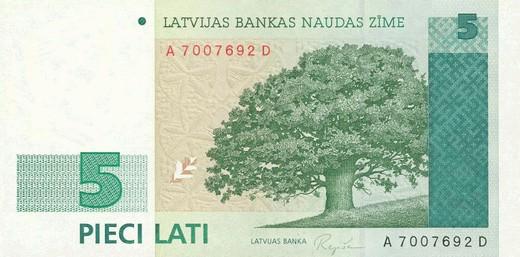 5 латвийских латов (лицевая сторона)