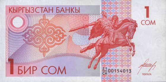 1 киргизский сом 1993 года выпуска