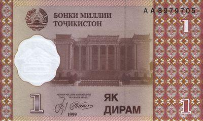 1 таджикский дирам (лицевая сторона)