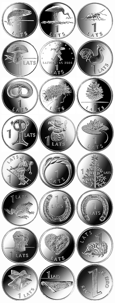 Латвийские латы номиналом 1 лат
